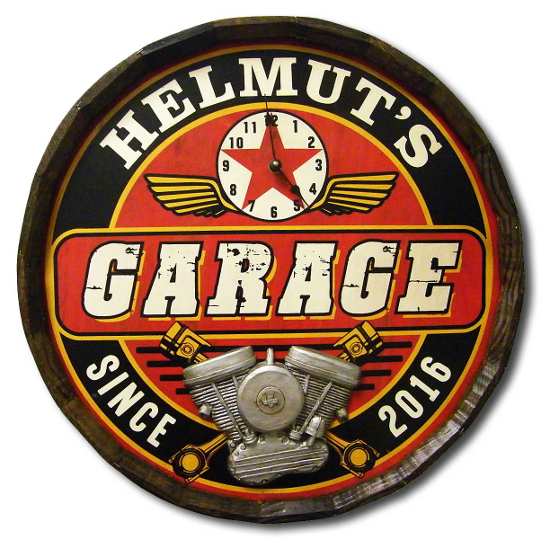 Garage Personalized Quarter Barrel Sign with Clock
