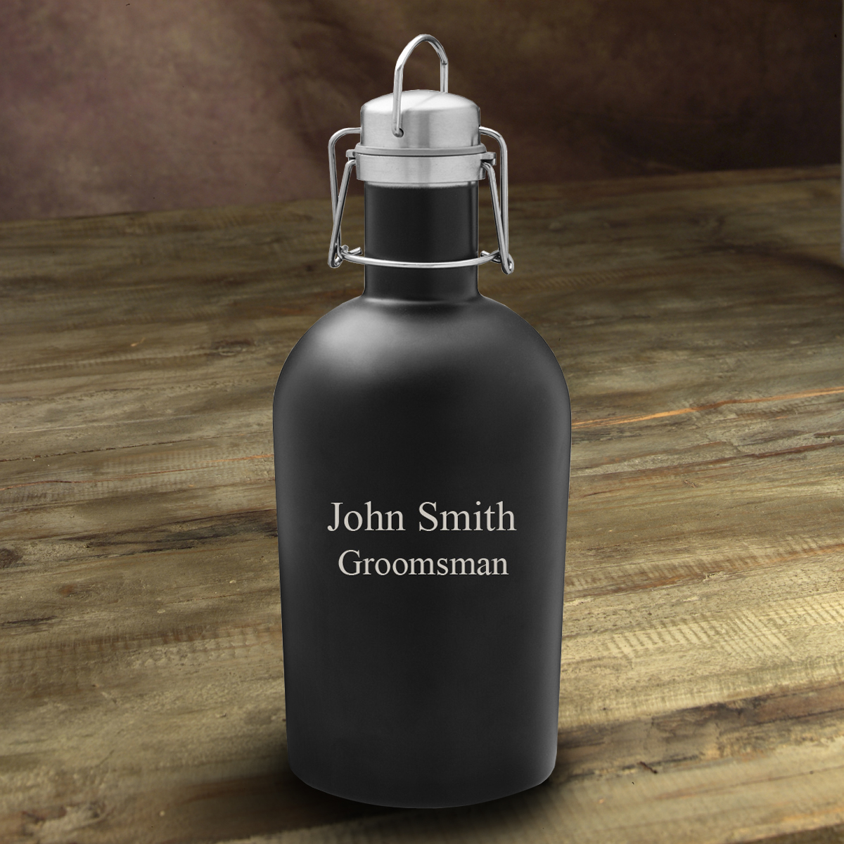 Personalized Black Stainless Steel Beer Growler