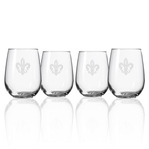 Grand Fleur De Lis Stemless Glasses, Set of 4