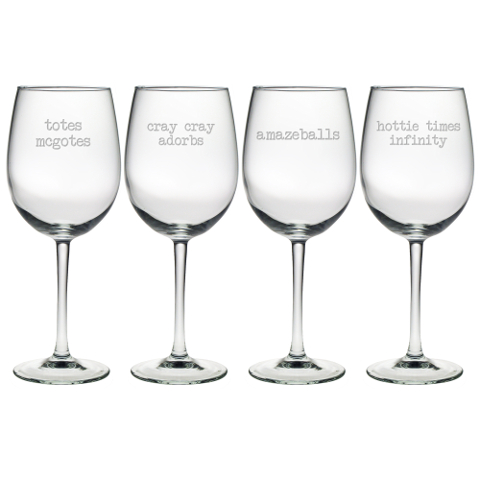 Girl Talk Stemmed Wine Glasses (set of 4)