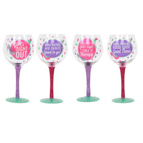 Decorative Girls Night Wine Glasses (Set of 4)