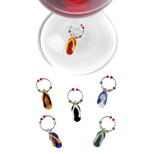 Glass Flip Flop Wine Charms