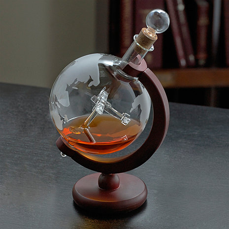 Etched Globe Whiskey Decanter with Antique Plane