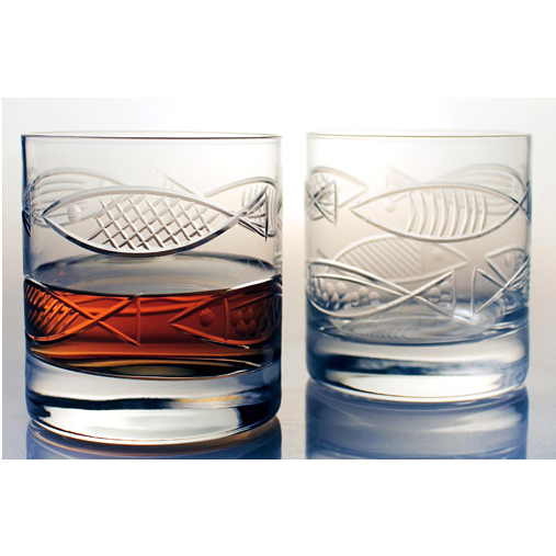 Go Fish Double Old Fashioned Glasses (set of 4)