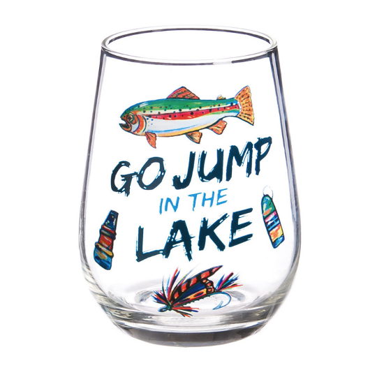 Go Jump In the Lake Hand Painted Stemless Glasses (set of 4)