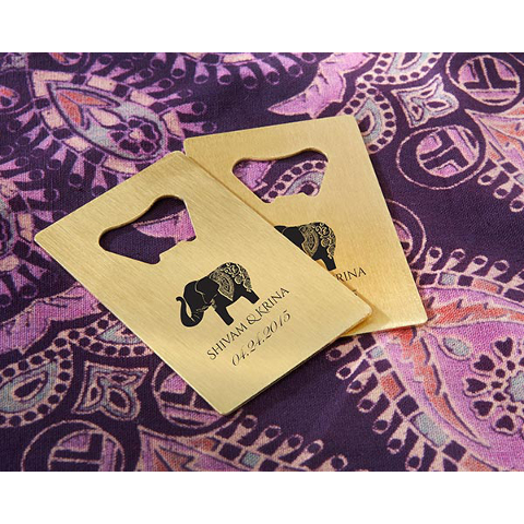 Lucky Elephant Personalized Credit Card Bottle Openers (set of 36)