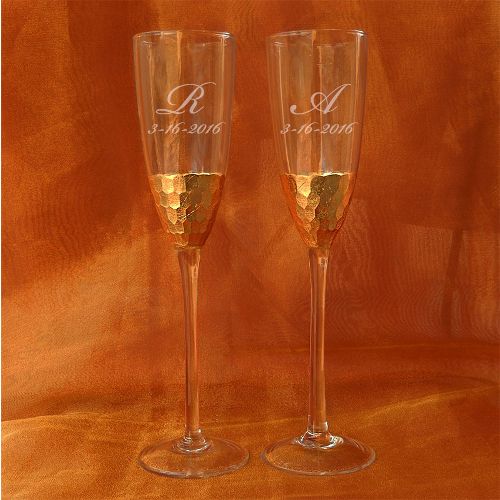 Personalized Gold Mosaic Toasting Flutes (set of 2)