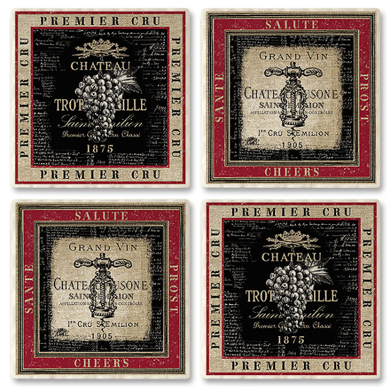 Grand Vin Absorbent Drink Coasters (set of 4)