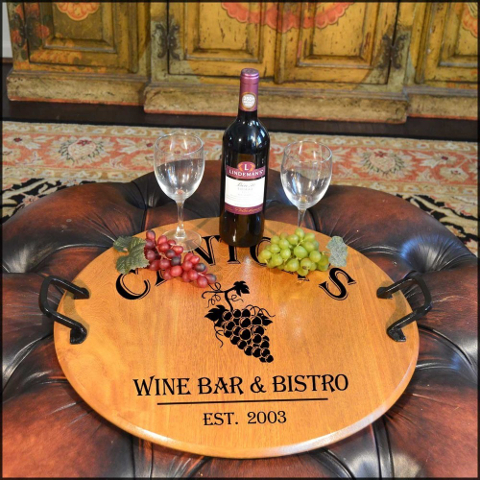 Personalized Grapes Barrel Head Serving Tray