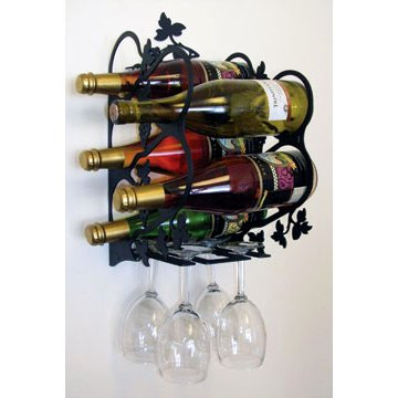 Wrought Iron Wall Mounted Grapevine Wine Bottles and Glassware Rack