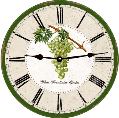 Bunch of White Grapes Round Wall Clock