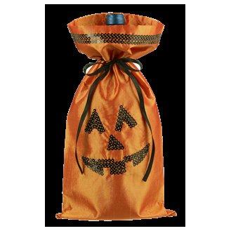Jack-O-Lantern Wine Bottle Bag w/ Sequins