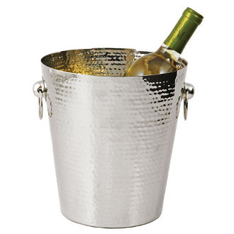 Viski Hammered Metal Wine Chiller Ice Bucket with Handles