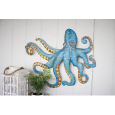 Hammered Recycled Metal Octopus Wall Hanging
