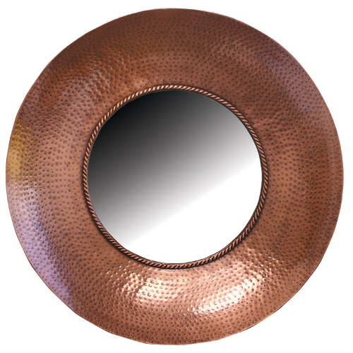Round Hammered Metal Wall Mirror