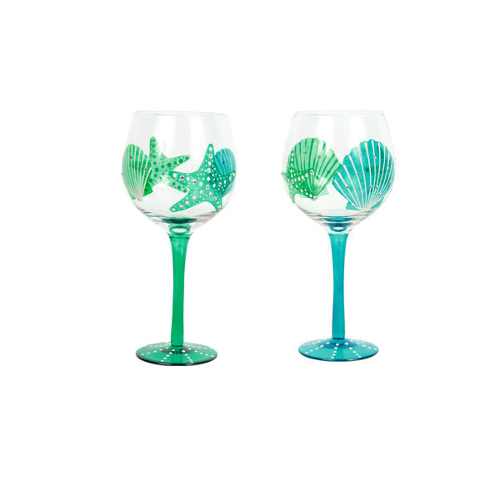 Hand Painted Shell and Starfish Wine Glasses (set of 2)