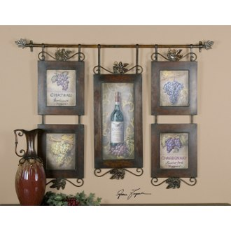 Uttermost Hanging Wall Mounted Wine Collage Art