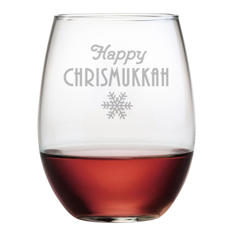 Happy Chrismukkah Stemless Wine Glasses (set of 4)