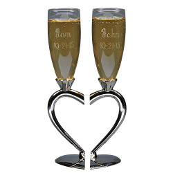 Champagne Flutes with Split Heart Base