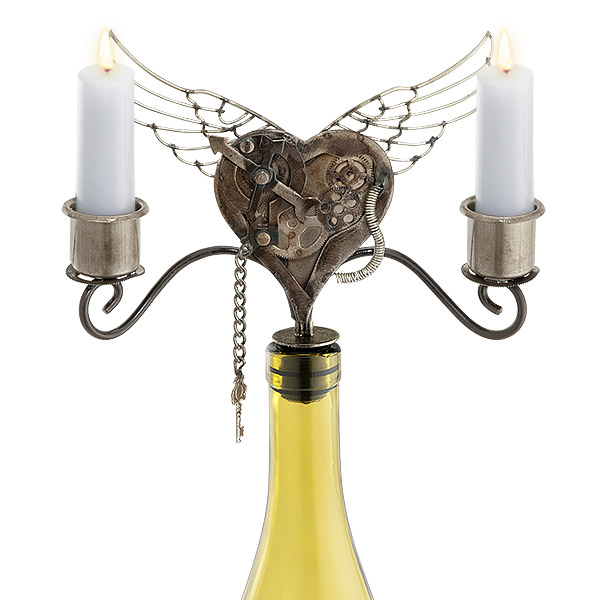 Heart Taper Wine Bottle Candelabra