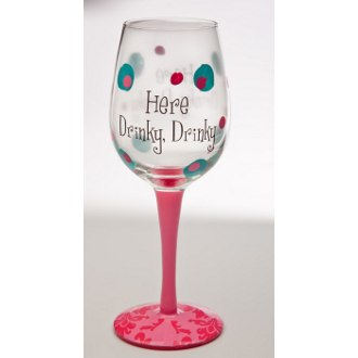 Here Drinky Drinky Handpainted Wine Glass