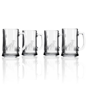 Etched Heron Beer Mugs (set of 4)