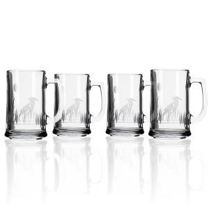 Etched Heron Beer Mugs (set of 4)