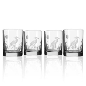 Etched Heron DOF Glasses (set of 4)
