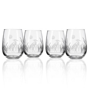 Etched Heron Stemless Wine Glasses (set of 4)