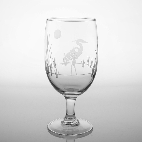 Etched Heron Iced Tea Glasses (set of 4)