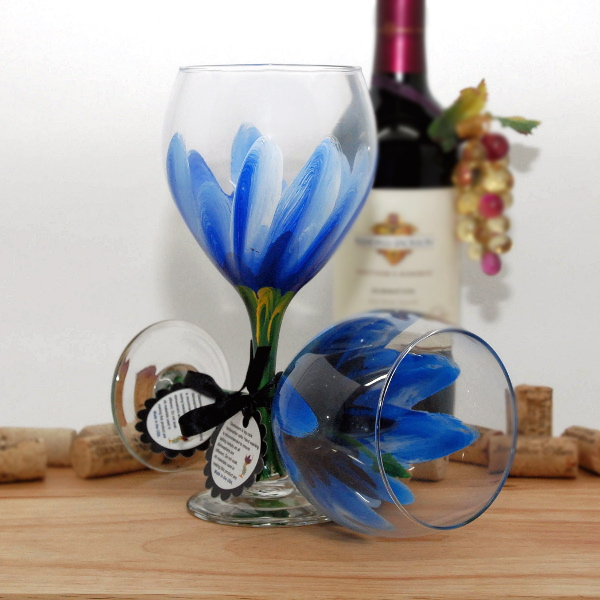 Handpainted Blue Hibiscus Wine Glass