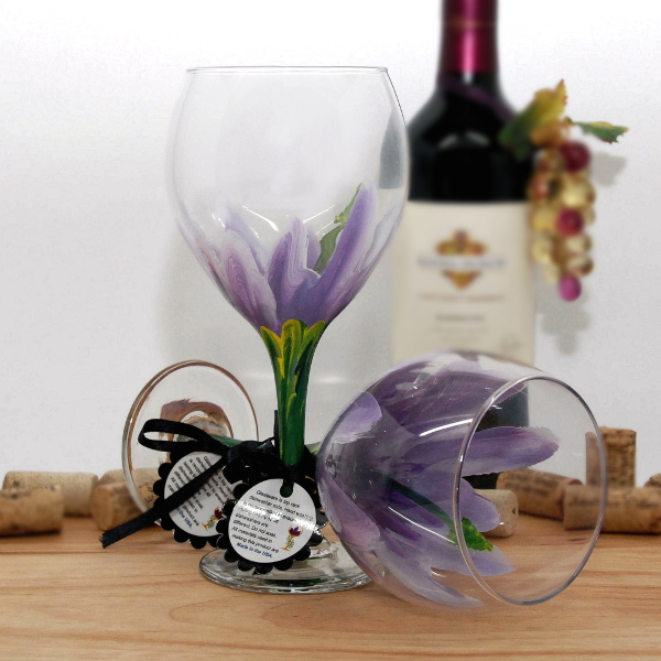 Handpainted Lilac Purple Hibiscus Wine Glass