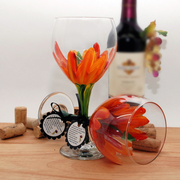 Handpainted Red and Yellow Hibiscus Wine Glass