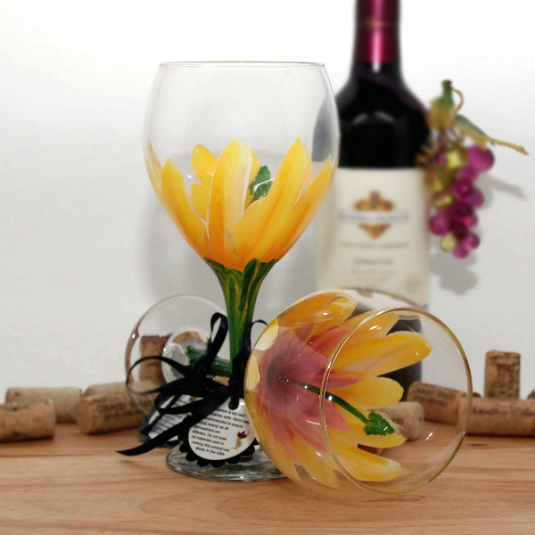 Handpainted Yellow and Pink Hibiscus Wine Glass