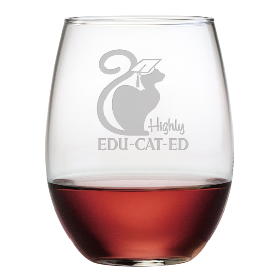 Highly Edu-cat-ed Stemless Wine Glasses (set of 4)