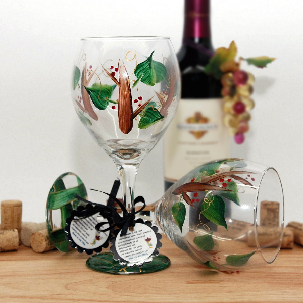 Handpainted Holiday Berry Twig Wine Glass