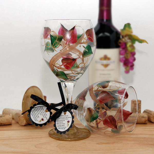 Handpainted Holiday Fall Wrap Wine Glass