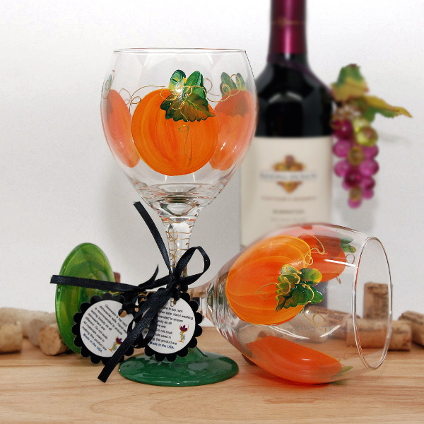 Handpainted Holiday Pumpkins Wine Glass