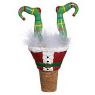 Holiday Wiggle Wine Bottle Stopper, Elf Legs