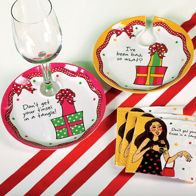 Under the Mistletoe Eco Bamboo Wine Appetizer Plates