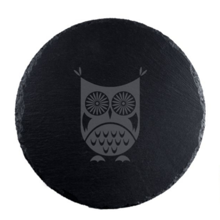 Hoot Owl Round Slate Serving Board