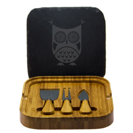 Hoot Owl Square Cheese Set with Tools