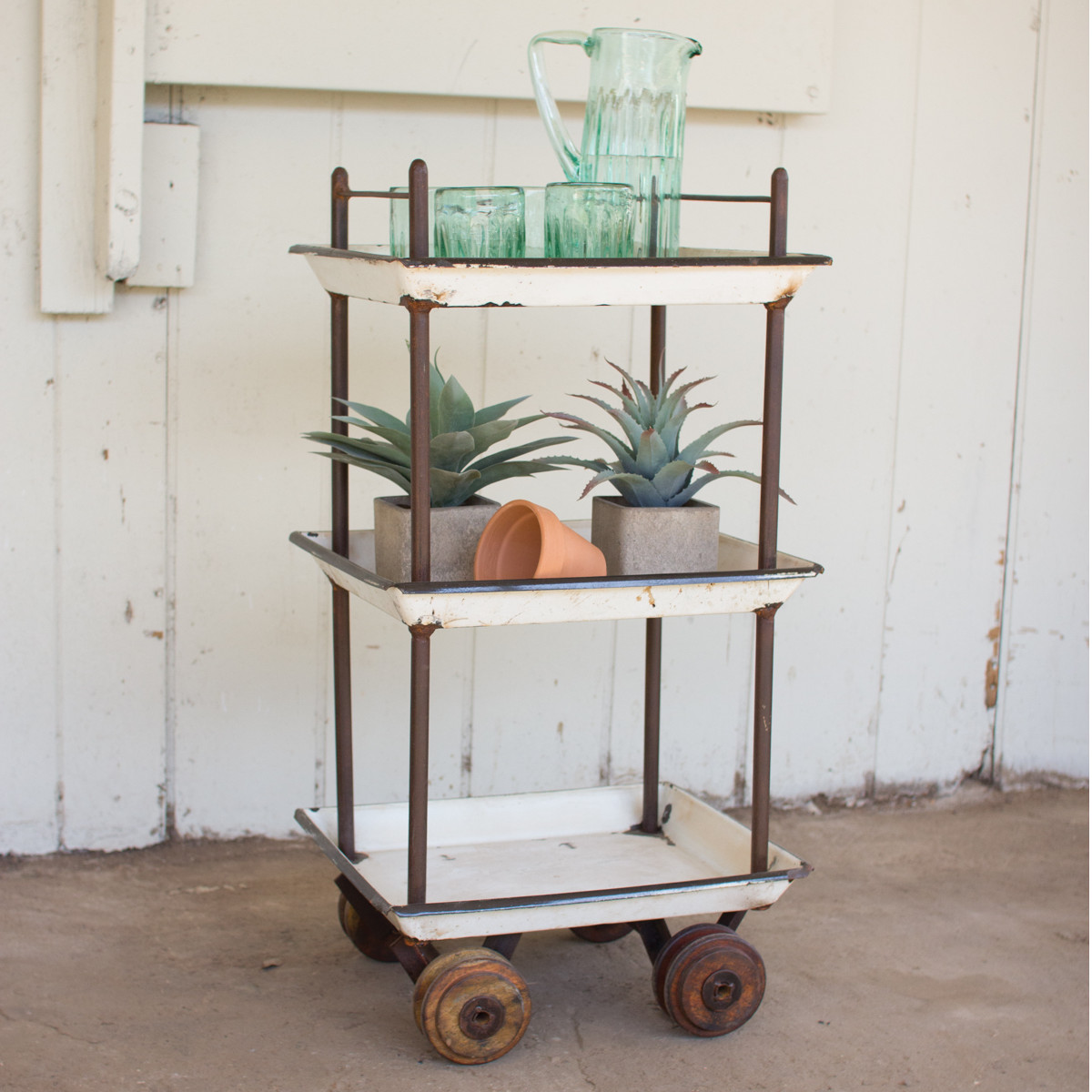 Vintage Bar Cart with Enamel Trays  and Wooden Casters