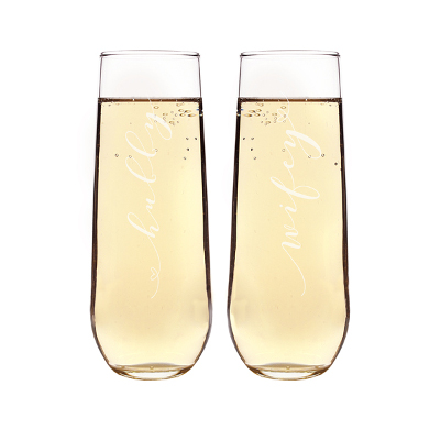 Hubby & Wifey Stemless Champagne Flutes