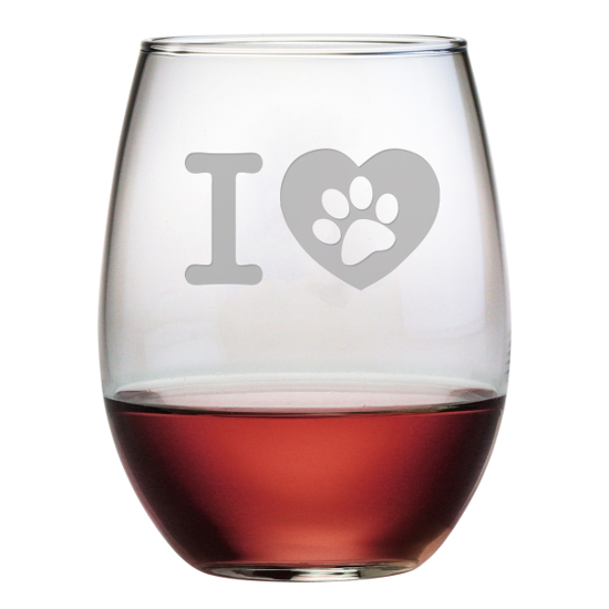 I Heart Paw Stemless Wine Glasses (set of 4)