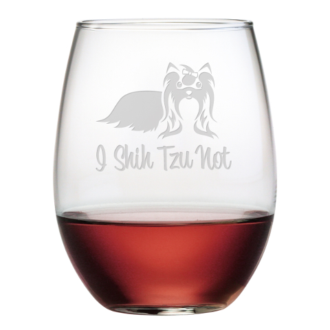 I Shih Tzu Not Stemless Wine Glasses (set of 4)
