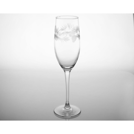 Etched Icy Pine Champagne Flutes (set of 4)