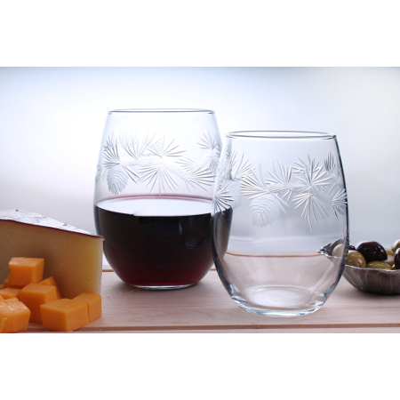 Icy Pine Etched Red Wine Tumblers (set of 4)
