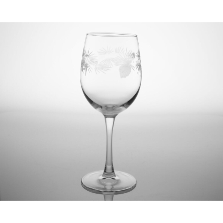 Icy Pine Etched Tulip Glasses (set of 4)