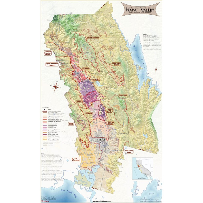 Napa Valley Wine Country Map on Canvas